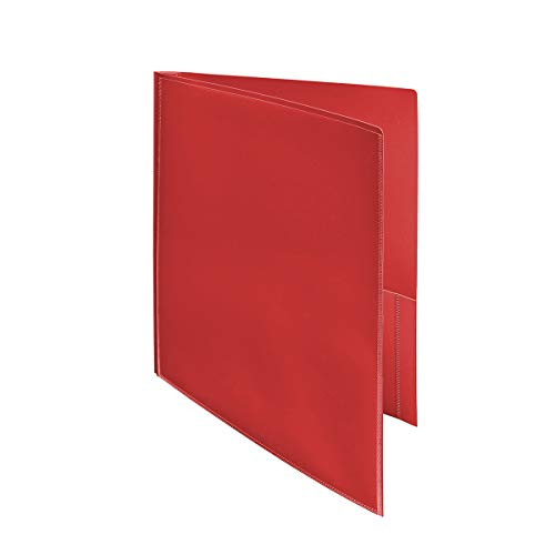 Ultra Pro - 2-Pocket Folders with 3-Prong Fastener and Clear Outside Pocket-Red