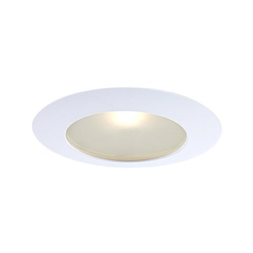 Jesco Lighting TM616WH 6-Inch Aperture Line Voltage Trim Recessed Light, Flat Frosted Opal Glass For Shower, White Finish