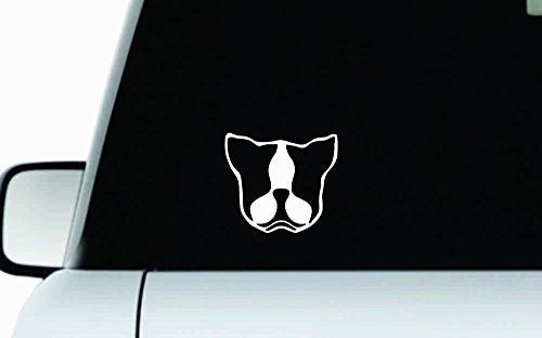 - Dog Boston Terrier Head Version 2 Car Vinyl Sticker Decal Bumper Sticker for Auto Cars Trucks Windshield Custom Walls Windows Ipad Macbook Laptop Home and More (WHITE)