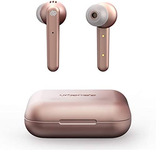 Urbanista Paris True Wireless Earphones 20H Playtime Wireless Charging Case, Bluetooth 5.0, Noise Cancelling Earphones with Touch Controls + Built-in Mic, Compatible with Android and iOS – Rose Gold