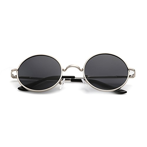 Menton Ezil Round Vintage Mirror Lenses UV protection Polarized unisex Small Lennon Hippie Syle Sunglasses for Men With Black Silver Metal Frame Black Lens ME8124