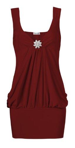 Broche Femme sans manches Style Détail Tissu Uni Party haut (XL (UK 16–18), vin)