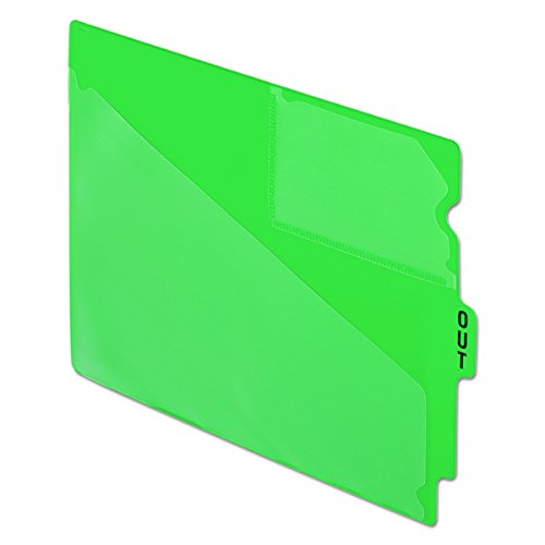 Pendaflex 13543 End Tab Vinyl Outguides w/Center Tab Printed Out, Letter Size, Green, 50/box