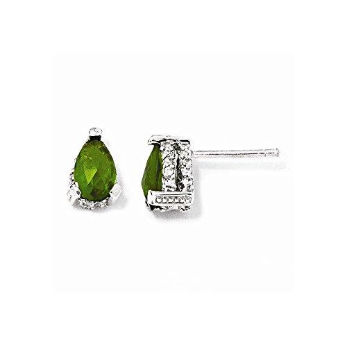 Top 10 Jewelry Gift Cheryl M Sterling Silver Rose-cut Pear Glass Sim. Emerald & CZ Post Earring (Ring Sim Emerald)