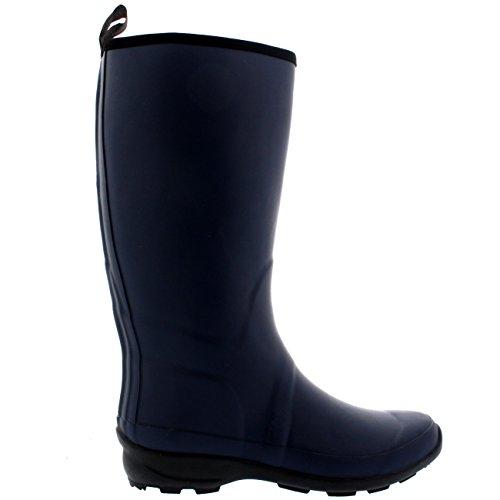 Polar Products Damen Kontrast Sohle Hohe Gummi Muck Winter Schnee Outdoor Gummistiefel Stiefel Marine