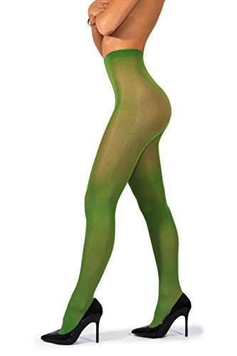 sofsy Opaque Microfibre Tights for Women - Invisibly Reinforced Opaque Brief Pantyhose 40Den [Made In Italy] Clover Green 4 - Large ()