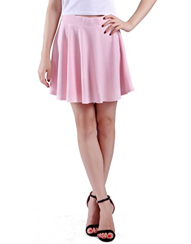 [HDE Women's Skater Skirt Pleated Flared A Line Circle Stretch Waist Skater Skirt (Light Pink,] (Daria Costume)