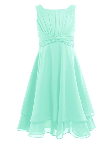 Communion Mint - YiZYiF Girls Chiffon Knot Front Flower Girl Dress Communion Pageant Party Gowns Mint Green 8
