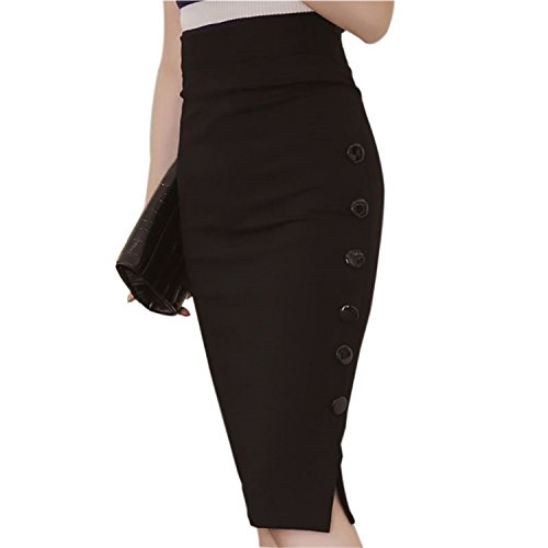 JIANGTAOLANG Women OL Skirt Sexy Split Slim Pencil Bandage Bodycon Plain Office Work Skirts Black (Silhouette Mini Button)