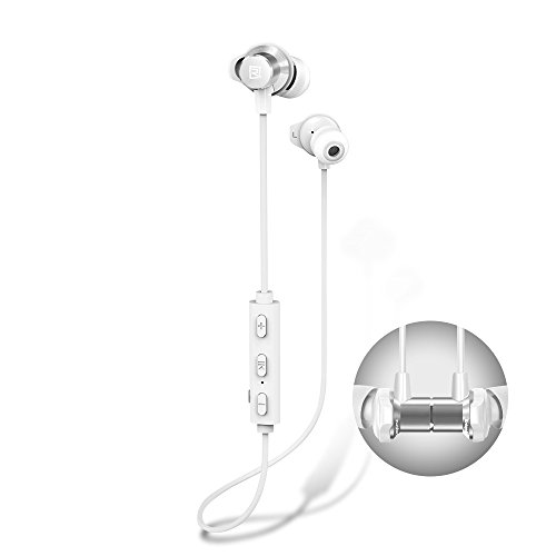 Bluetooth Headphones, Remax RB-S7 Best Wireless 4.1 Sports Earphones with Mic, Magnetic Earbuds, IPX7 Waterproof, HD Sound with Bass, Noise Cancelling, Secure Fit, Up to 9 Hours Working Time (White)