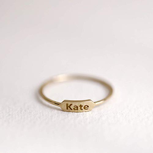 Personalized Name Plate Ring, Name Band, Personalized Monogram Ring, 10K 14K Solid Gold Ring, 10K 14k Gold Personalized Jewelry, Gifts for Her