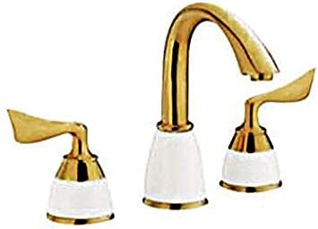 Honana 蛇口, 蛇口ゴールデン蛇口ダブルハンドル調節可能な水温流域の蛇口を使用し毎日、耐久性に優れました キッチン蛇口 混合水栓