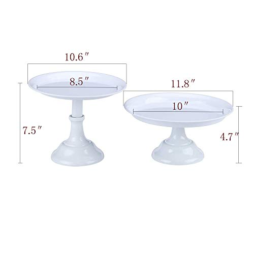 Hotity 2-Set Round Cake Stands Simple Design Dessert Display Cake Stand Cupcake Stands for Wedding Birthday Party Celebration Baby Shower, White