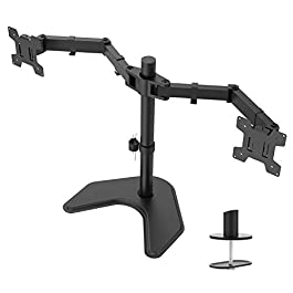WALI Free Standing Dual LCD Monitor Fully Adjustable Desk Mount Fits 2 Screens up to 27 inch, 22 lbs. Weight Capacity…