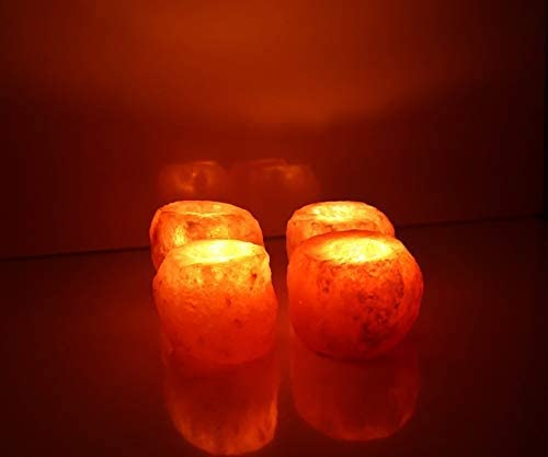 4X HIMALAYAN CRYSTAL ROCK SALT CANDLE TEA LIGHT HOLDER NIGHT DESK CANDLE LAMP