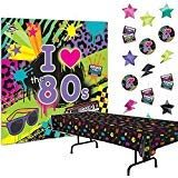Multiple 80s Party Decorations Bundle of 3 - Plastic Tablecover, Giant Wall Scene Setter and String -