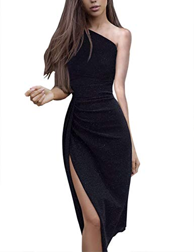 Nature Comfy Womens Sleeveless one Shoulder Ruched High Slit Elegant Evening Cocktail Party Dresses (Black, Small)
