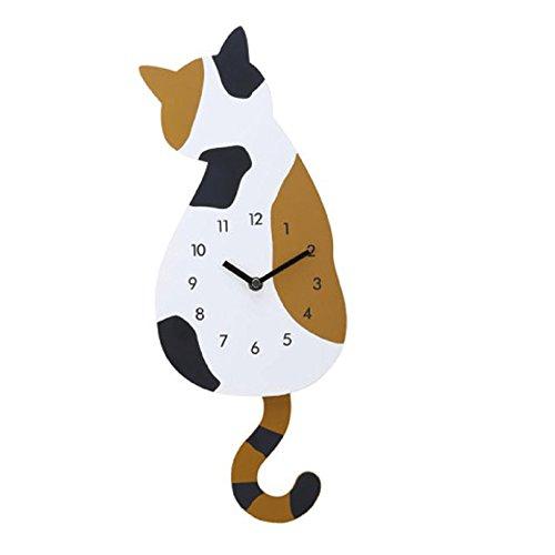 Hli-SHJHsmu Cat Clock Decor Move Way Silence Tail Cute Creative Home Wall Watch Cartoon