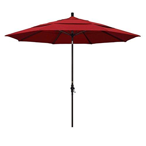 California Umbrella 11' Round Aluminum Pole Fiberglass Rib Market Umbrella, Crank Lift, Collar Tilt, Bronze Pole, Sunbrella Jockey Red