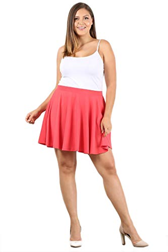 UU Fashion Women's Premium Petite and Plus Size Basic Versatile Stretchy Flared Casual Mini Skater Skirt - Made in U.S.A. (1X, WB1034_Coral)