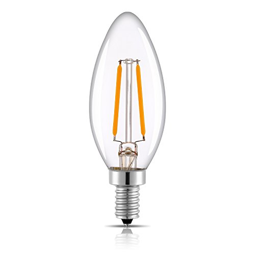 Keymit C35 LED Candelabra Base Bulb Filament - Dimmable - 2W - E12 Edison Chandelier Bulbs Clear Glass Warm Glow 2700K - Candle Lights Style - Replace 20 Watt - Torpedo Watt Bulb