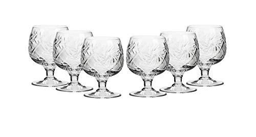 (6 Russian CUT Crystal Cognac Snifters 150ml/5oz Hand Made)