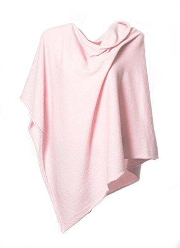 Anna Kristine Asymmetrical 100% Cashmere Draped Poncho Topper - Pale Pink by Anna Kristine