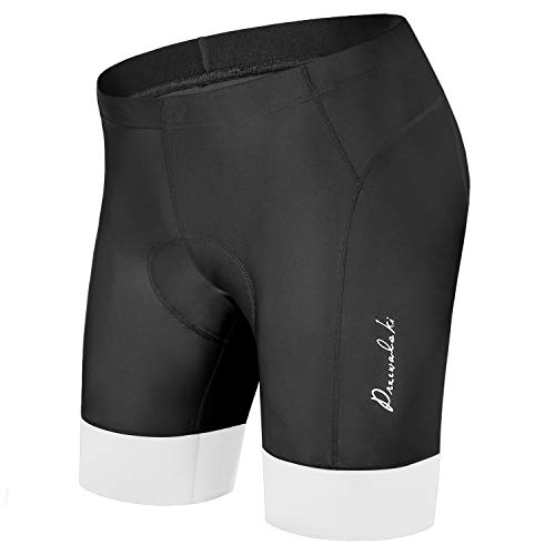 Przewalski Men's Bike Cycling Shorts, Bicycle Biking Riding Shorts, 3D Padded Half Pant with 3-Layer & 7CM Width Anti-Slip Cuff-Quick Dry & Comfy (White, L)