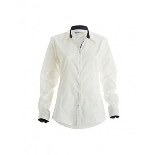 Bleu Chemisier Femme manches longues Blanc Kustom Kit 1Y0RqY4