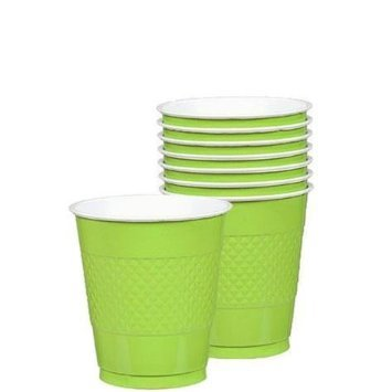 Amscan Reusable Party Cups Tableware, Kiwi Green, Plastic, 9 Ounces, Pack of 20 Supplies , 200 Pieces