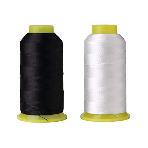 T70#69 Bonded Nylon Sewing Thread - 1500 Yard Spool -(White+Black)2PCS
