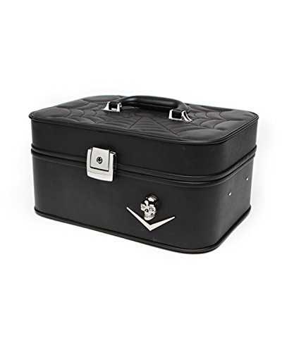 Lux De Ville Elvira Vanity Train Case Black Matte Chevron and Skull spiderweb