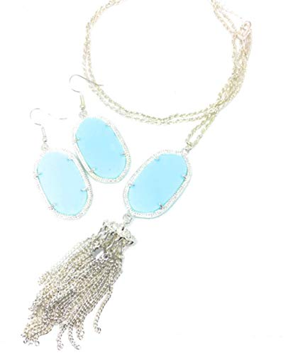 - Inspired Fashion Jewelry Tiffany Blue Big Oval Necklace and Earrings in Silver Tone
