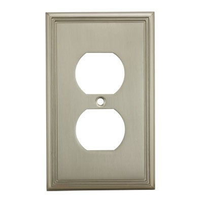 Cosmas 65049-SN Satin Nickel Single Duplex Electrical Outlet Wall Plate / Cover