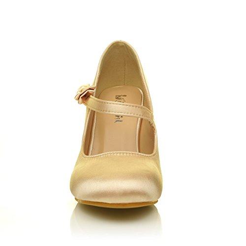 Charlotte Champagne Gold Satin High Heel Bridal Bow Mary Jane Shoes aWtqDgq1J