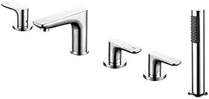 クロム浴槽の蛇口真鍮の浴室の浴槽の蛇口3ハンドル5穴シャワーの蛇口セットハンドヘルドシャワー付きデッキマウント浴槽タップ