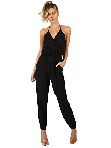 Romwe Womens Sexy Sleeveless Surplice Top Pocket Front Wide Tapered Romper Jumpsuit