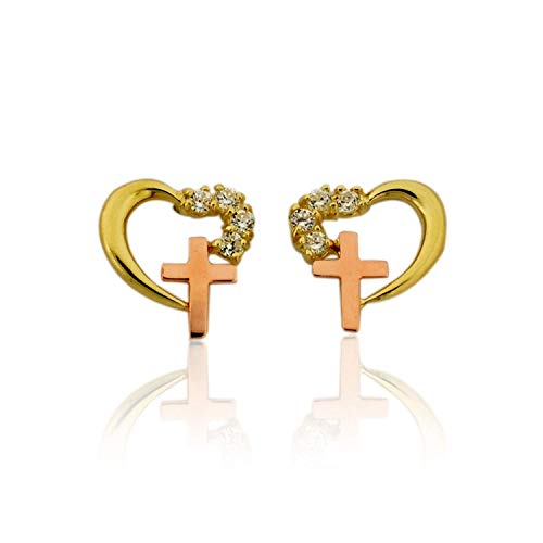 - 10K Gold Two Tone Heart and Cross Stud Earrings