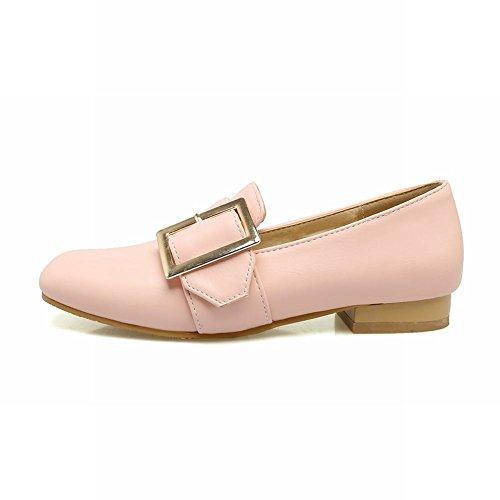 Show Shine Dames Casual Ruige Lage Hak Vierkant Loafers Schoenen Roze Voor Dames