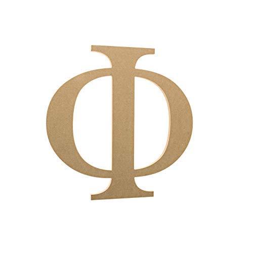 6 Wooden Greek Letter Phi - Fraternity/Sorority Premium MDF Wood Letters (6 inch, Phi)
