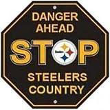 "Pittsburgh Steelers NFL ""Danger Ahead"" Stop Sign 12""x12"""
