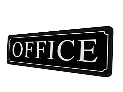 The Office sign for door or wall - quick and easy installation. Self-adhesive - 9 X 3 in. The Best sign for your home office and business. White big letters on black plate. Main office sign.