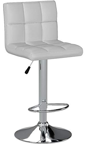 IntimaTe WM Heart Adjustable Swivel Bar Stools Set of 2, White PU Leather Pub Chairs With Back