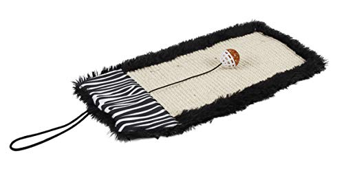 Pet Life Scrape-Away' Hanging Sisal & Jute Carpet Kitty Cat Scratcher with Toy, One Size, Black by Pet Life