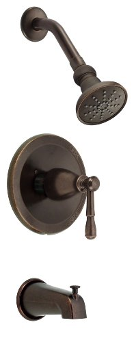 Danze D520155PBVT Sheridan Single Handle Tub and Shower Trim Kit, 2.5 GPM, Valve Not Included, Polished Brass PBV