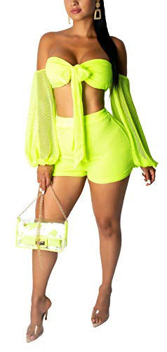SAMACHICA Women Fishnet Mesh See Through Bandeau Crop Top + Eyelet Loose Sleeve Short Pants 2 Piece Outfits Lime Green S ()
