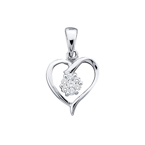10kt White Gold Womens Round Diamond Flower Cluster Heart Pendant 1/12 Cttw (I2-I3 clarity; I-J color)