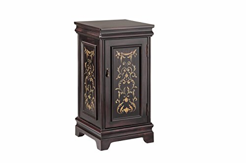 Stein World Furniture Pedestal with Storage, Black, (Stein World Pedestal)