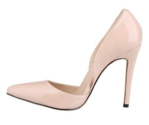 HooH Women's D-Orsay Pointed Toe Stiletto Wedding Pumps Nude DxLBn5B