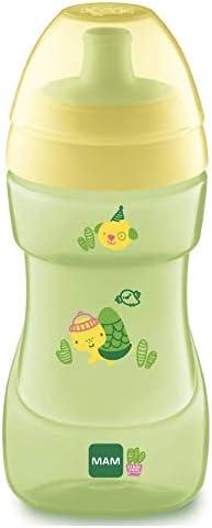 MAM Sports Cup Gobelet dapprentissage avec bouchon automatique tasse anti-fuite verre anti-fuite pour b/éb/é avec valve de contr/ôle du flux mois facile /à tenir 12 vert